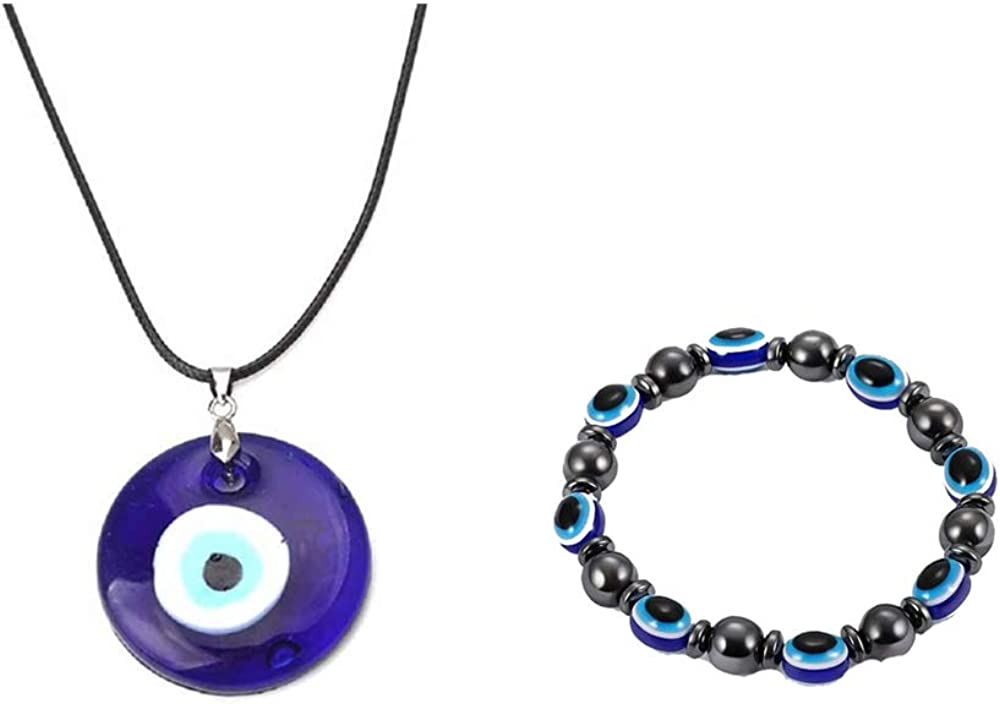 COLORFUL BLING Evil Eye Pendant Necklace Glass Leather Rope Bracelet Chain Turkish Protact Lucky Necklace for Women Men