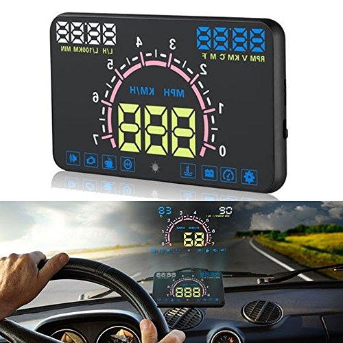 Voiture HUD Head Up Display – BW Écran HD 14,7 cm E350 Voiture Speed/Tension Alarme Head Up Display avec Fonction de Mesure de Distance de Conduite