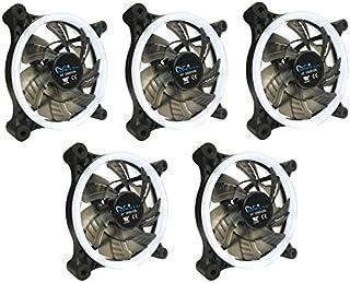 Apevia APEVIA 512L-CWH 120mm Silent Dual Rings White LED Fan with 32 x LEDs & 8 x Anti-Vibration Rubber Pads (5 Pk)