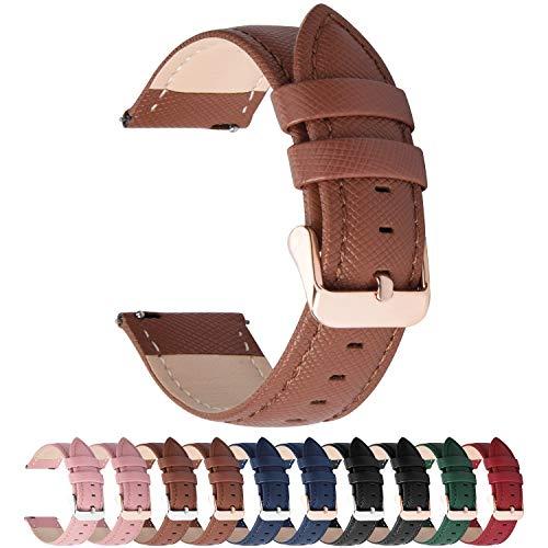 6 Colores para Correa de Reloj,Fullmosa Cross Piel Correa Huawei Samsung Correa/Banda/Band/Pulsera/Strap de Recambio/Reemplazo 14mm 16mm 18mm 20mm 22mm 24mm,Marrón 20mm