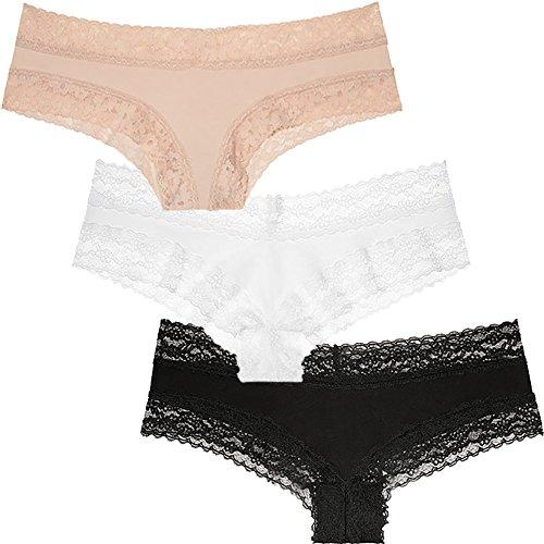 Victoria's Secret Lace Cheeky Panty 3er Set -  Weiß -  Mittel