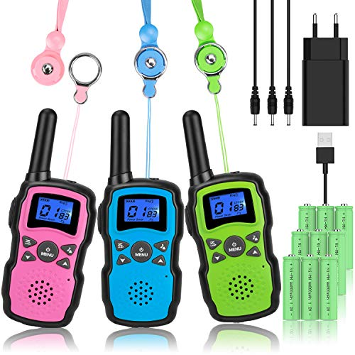 Wishouse M8 Walkie Talkie Niños Bateria USB Recargable, Adultos Walky Talky 3...