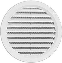 Rejilla de ventilación de plástico, rejilla de extracción de aire redonda con brida/conexión de tubo y protección antiinsectos, 144mm (VM125)