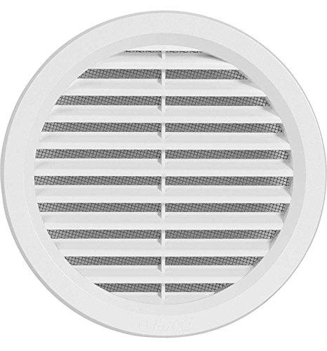Kunststoff Lüftungsgitter - Abluftgitter - rund - mit Flansch/Rohranschluß und Insektenschutz - Deckmaß: 144 mm (VM125) (1)