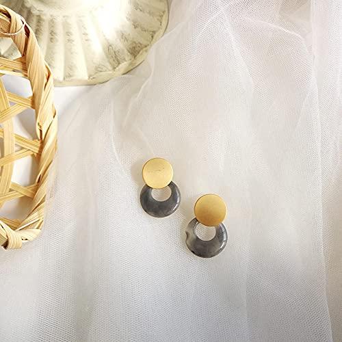 FEARRIN Pendientes Vintage Rhinestone Stud Pendiente de Oro Mate Joyas Azul Verde Marrón Resina Pendientes Colgantes para Mujeres Joyas Chica Estudiantes Regalos Gris