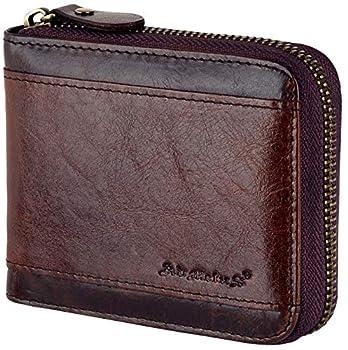 Christmas gift Admetus Men gifts Genuine Leather Short Zip Cowhide Wallet credit card ID Purses 2