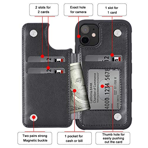 Arae Case for iPhone 11 PU Leather Wallet Case with Card Pockets Back Flip Cover for iPhone 11 6.1 inch 2019 (Black)