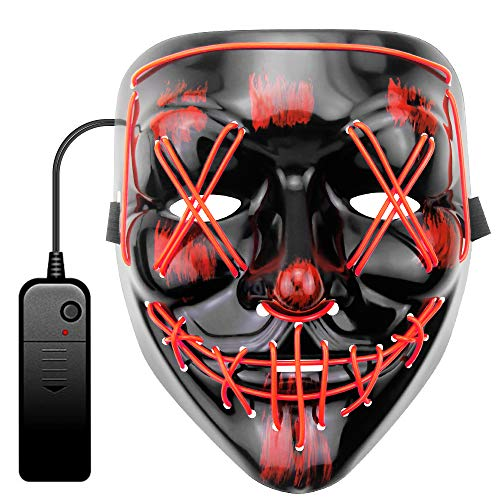 JOVNO Halloween Mask LED Light Up Mask Scary Mask EL Wire Purge Mask for Festival Cosplay Halloween Masquerade Costume Parties with 3 Lighting Modes Safe and Easy to Use Gifts for Children/Family RED