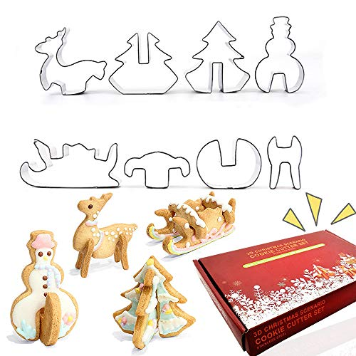 QUERLY 8PCS Christmas Cookie Cutters Set 3D Christmas Stereo Metal Stainless Steel Biscuit Mold Holiday Cookies Molds Christmas Tree,Snowman,Reindeer,Sled, Gift Box Package for Party Treat Decoration