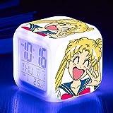 fdgdfgd Personaje de Dibujos Animados en 3D Sailor Moon Doll Anime Toy Doll Reloj Despertador LED Colorido Luminoso Fecha Reloj Despertador con termómetro