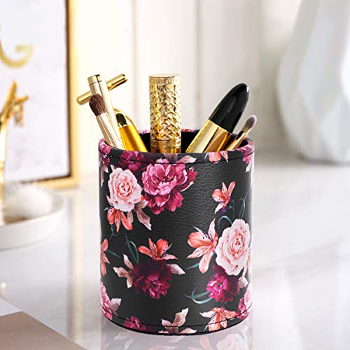 Pen Pencil Holder, WAVEYU Floral Flower Pattern Pen Cup Container PU Leather Desk Organizer Stand Decor Brush Scissor Holder Desk Organizer Decoration for Office Desk Home Decorative, Floral Photo #4
