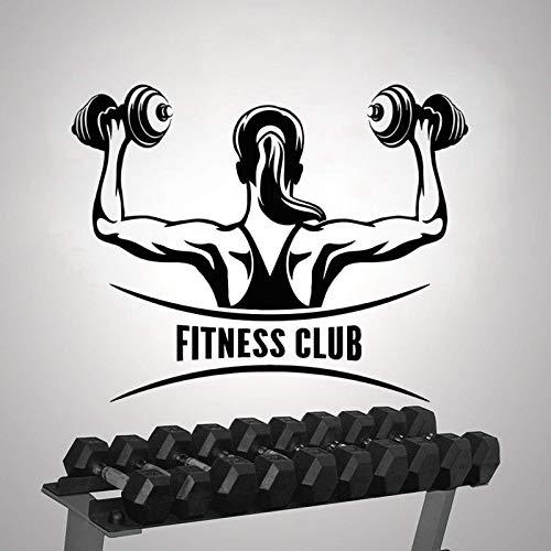 AGiuoo Fitness Club Mujer Entrenamiento con Mancuernas Etiqueta de la Pared Etiqueta de Gimnasio Decoración para el hogar y el Gimnasio Extraíble 114x94cm