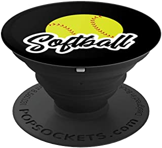 Softball Outline Player Fan Coach Mom Gift Black Background - PopSockets Grip and Stand for Phones and Tablets