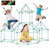 Fort Building Kits 120 Pcs+10 LED Construction Fort Play Tent with Fort Kit Fun STEM Toys Flexible Construction DIY Building Castles Tunnels Play Tent Rocket Tower Indoor & Outdoor