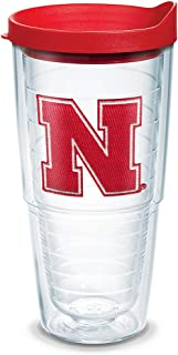 Tervis Nebraska Cornhuskers Logo Tumbler with Emblem and Red Lid 24oz, Clear
