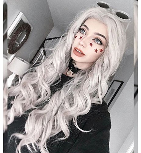 Vedar Fairy Style Free Part Ice Grey Hair Lace Front Wigs for Ladies 22 inches Cosplay Gray Lace Wigs Deep Weave Best Synthetic Wigs Loose Curly Hair Wig VEADR-039
