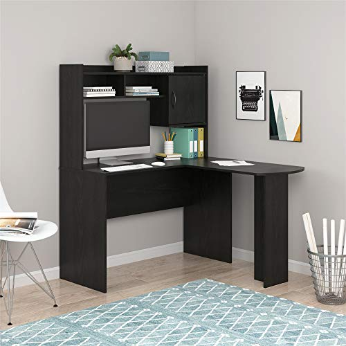 Mainstays L-Shaped Desk with Hutch, Multiple Colors (L-Shaped Desk with Hutch, Black Oak)