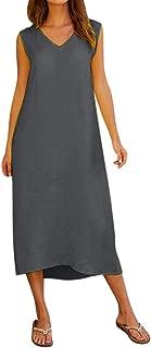 HIRIRI Women V Neck Cotton Linen Dress Casual Summer Soft Sleeveless Long Maxi Beach Dress