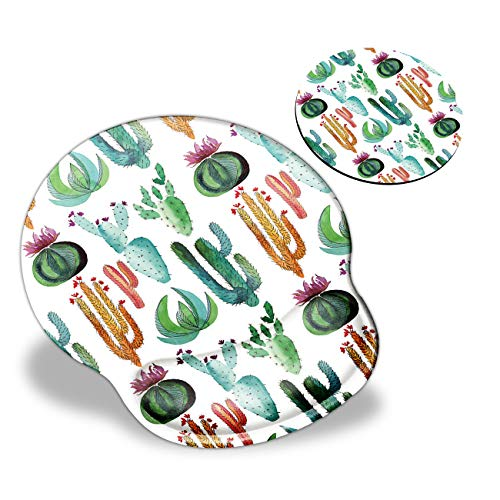 Mouse Pad with Wrist Support, Cactus Cute Pattern Design Ergonomic Mouse Pads and Coasters, Gaming Mousepad for Laptop Computer Home Office Working & Pain Relief