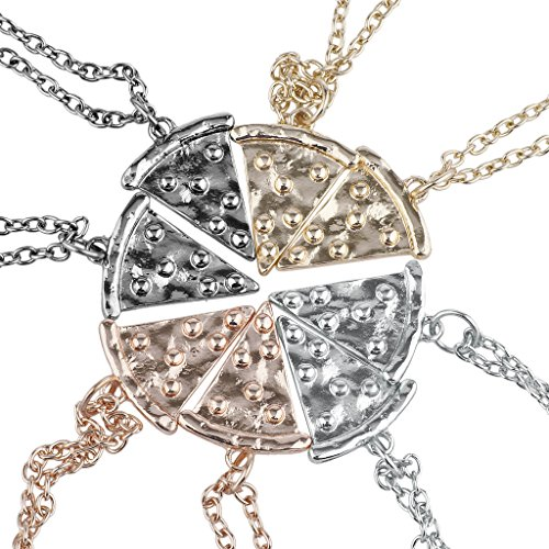 Lux Accessories Multi Metal Pizza Pie Slice Best Friends BFF Necklace Set 8PC