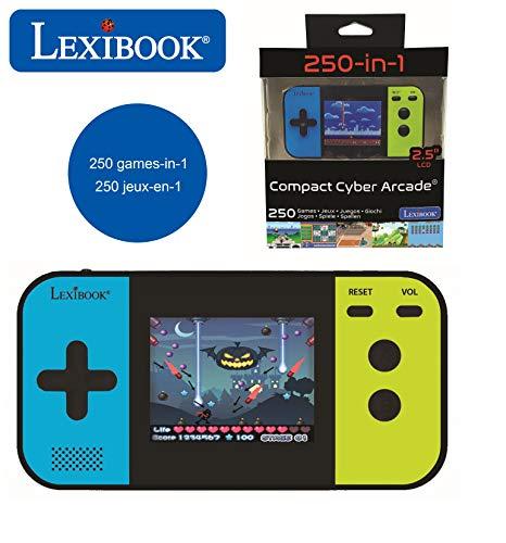 Lexibook- Console Portable Compact Cyber Arcade, 250, Jeu vidéo Enfant Adolescent, écran LCD, à Piles, Noir/Bleu/Vert, JL2377
