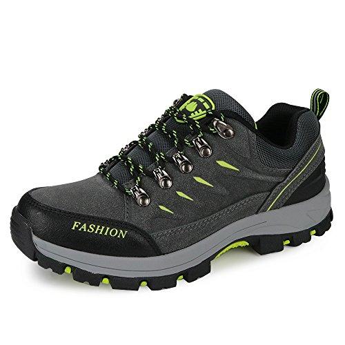 FZUU Wanderschuhe Trekking Schuhe Herren Damen Sports Outdoor Sneaker Armee Grün 35-44 Unisex (43, Grau)