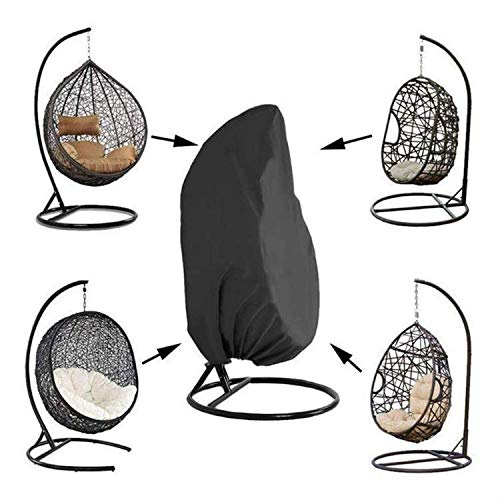 Egg Chair Cover Double Waterproof, Garden Hanging Egg Chair Cover with Zip, Large, Heavy Duty, Patio Swing Cover, 210D Oxford Fabric Garden Furniture Protective Cover Water and UV Resistant, Anti-dust