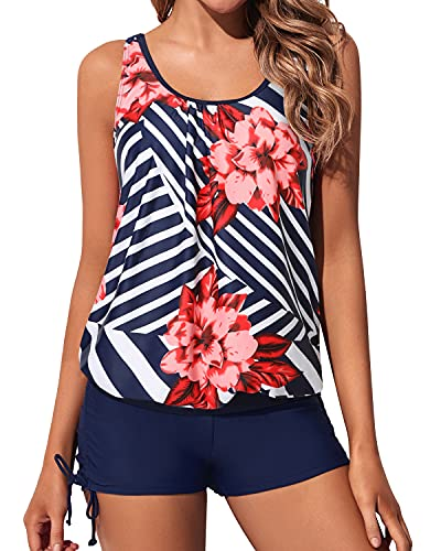 Yonique Blouson Tankini Swimsuits for Women 2 Piece Navy Blue Floral Bathing Suits Tops with Boyshorts Modest Loose Fit Swimwear L