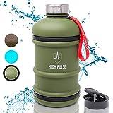 High Pulse Gallon bouteille XXL avec embout pour boire + bouchon en acier inoxydable (2,2 l) - Gourde musculation - peut servir de shaker proteines sport - SANS BPA