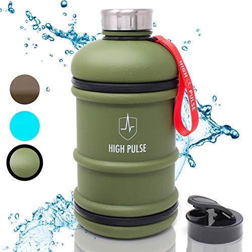 High Pulse® XXL Water Jug mit Trinkaufsatz + Edelstahlkappe (2 l) – Die auslaufsichere Trinkflasche mit Handgriff ist der ideale Begleiter für Ihr Fitness- und Krafttraining – 100% BPA-frei (Grün)