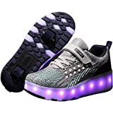 YZU Unisex Wheel Shoes Kids Roller Skates Light up Shoes with USB Chargable LED, Adult Girls Children's Shoes Roller Skates, Dual Wheels Can Be Charged,Gris,37