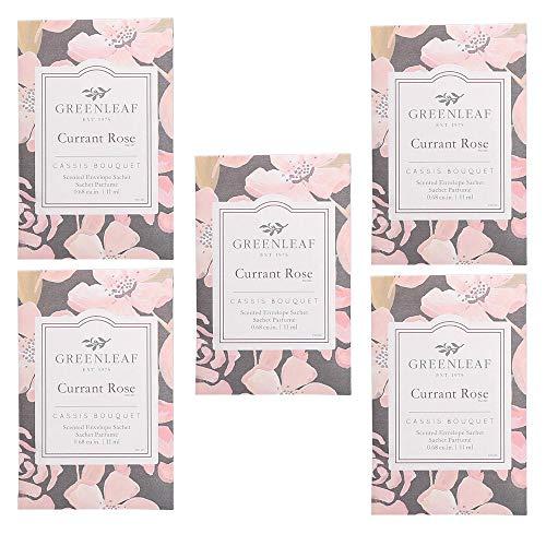 5x Greenleaf Currant Rose (Rosa) - Duftsäckchen für Schubladen | Packung mit 5 Beutel 9 x 6 cm | Duft und Duft für Zuhause