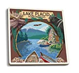Lake Placid, New York - Adirondacks Canoe Scene (Set of 4 Ceramic Coasters - Cork-Backed, Absorbent)