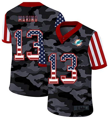 FDRYA Marino 13# American Football Trikots, Miámi Rugby Jersey Dólphińs, Männer Polos Kurzarm Fan T-Shirt Sport Top Schnelltrocknendes Hemd Training Top 7-S