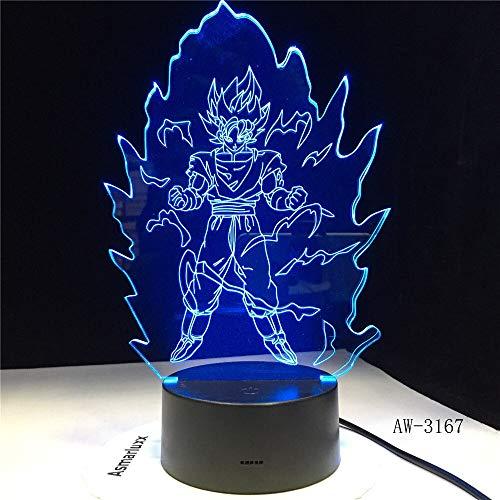 Solo 1 pieza de iluminación LED regalos Dragon Ball Goku acrílico 3D luz nocturna USB Leds lámpara de mesa Control táctil lámpara 3D para el hogar