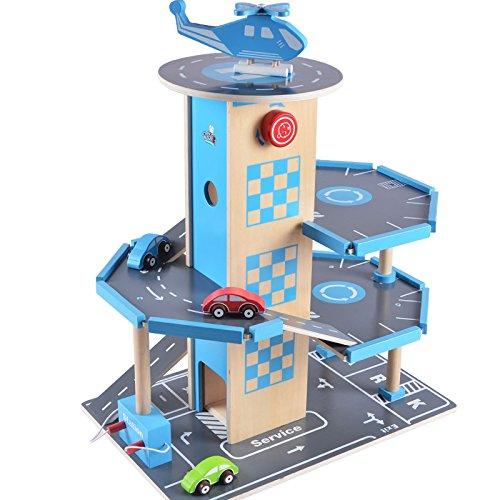 B&Julian Holz Parkhaus Garage 3 Etagen mit Aufzug 4 Autos und Hubschrauber Spielzeug für Kinder ab 3