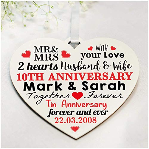 10th Wedding Anniversary Gifts - PERSONALISED Printed Wooden Heart - Tenth Tin Anniversary Presents - Perfect for Husband, Wife or Couples - ANY ANNIVERSARY - 1st, 25th, 30th, 40th, 50th