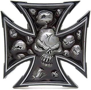 Belt Buckle Unique Maltese Iron Cross Evil Cool Skull Bone Men Western