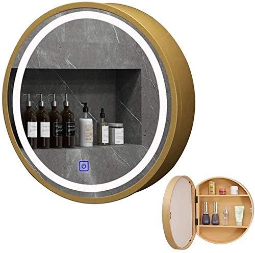 LAMTON Gabinete de Espejo de baño Redondo LED, gabinete de Cocina Unido al gabinete de gabinete de Farmacia con una Sola Puerta (Color : Gold, tamaño : 60cm/23.6 Inches)