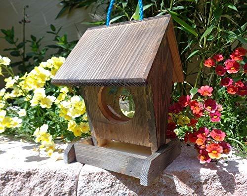 Vogelfutterstation-BEL-X-VOFU1K-at002 PREMIUM Vogelhaus Vogelfutterhaus schwarz anthrazit Schwarzlasur dunkelgrau Holz, als Ergänzung zum Meisen Nistkasten Meisenkasten oder zum Insektenhotel, Futterstelle Futterstation für Vögel, Vogelhäuschen / Vogelvilla zum Hängen und Aufstellen von BEL