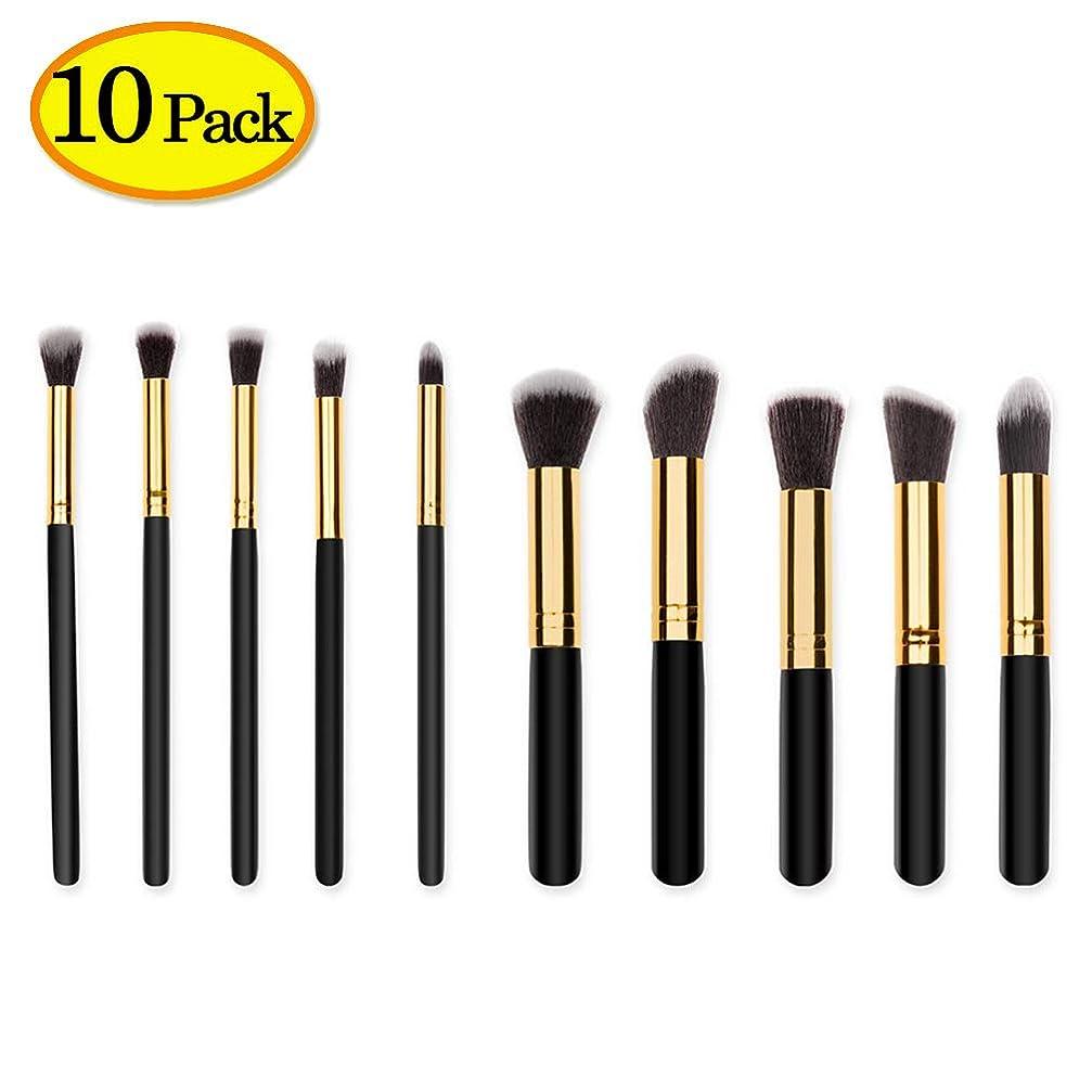 降下イーウェル従事したメイクブラシ 化粧筆 ケース付き 携帯用 化粧ブラシ フェイスブラシ人気 プレゼントに最適 10本セット (ブラック)