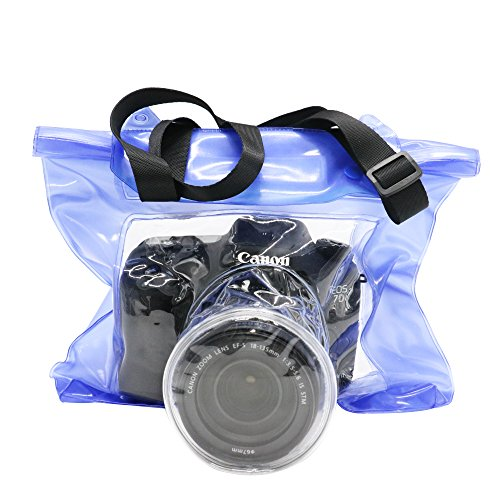 Toysdone Camera Waterproof Bag Underwater Housing Case Pouch Bag Compatible with Canon Nikon etc.(Blue)
