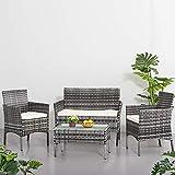 Ensemble Salon de Jardin Table 1 Canapé 2 Places, 2 Fauteuils en Résine Tressée Rotin pour Jardin, Balcon (Gris)