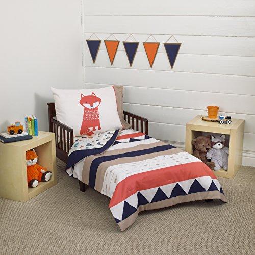 Carter's Conjunto de cama infantil Aztec 4 peças, azul-marinho, creme, laranja, bege