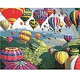 Globo Aerostático Pintar por Numeros Romanticos 15.6x19.5 Pulgadas Colorea por Numeros para Adultos, Regalos de Pintura Acrílica(Sin Marco)