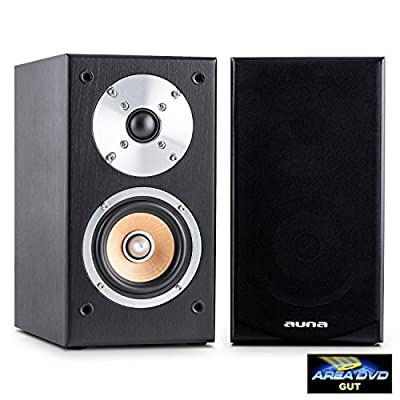 """AUNA Line 501-BS-BK Pair of Passive Bookshelf Speakers (50W RMS, 4"""" Midrange Driver & Gold Plated Speaker Connections) Black by Auna"""