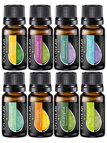 Essential Oil Aromatherapy Set - Pure Therapeutic Grade Oils Lavender, Peppermint, Rosemary, Orange,...