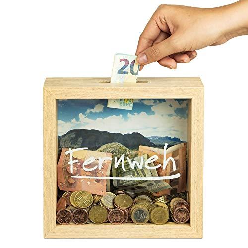 Sparbuex hochwertige Bilderrahmen Spardose (20x20x6cm) – Stilvolles Geldgeschenk für Geburtstage, Hochzeiten… - Spare für deinen besonderen Traum
