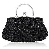 EROUGE Beaded Sequin Design Flower Evening Purse Large Clutch Bag (Black)