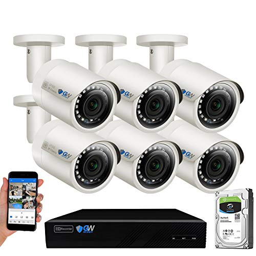 GW Security 8 Channel 4K NVR 5MP POE Audio & Video Security Camera System - Six 5MP 1920P Weatherproof Bullet Cameras,Built in Microphone, Quick QR Code Easy Setup, Pre-Installed 2TB Hard Drive